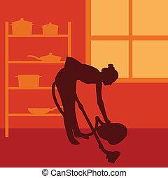 矢量, 清洁工, 妇女, 打扫, 真空