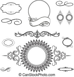 矢量, 漩渦, 框架, 集合, 裝飾品