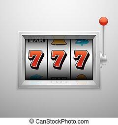 矢量, 狭缝机器, 带, 幸运七, 娱乐场, jackpot, 取得胜利