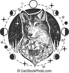 矢量, 狼頭, 紋身, 或者, t恤衫, 印刷品, 設計