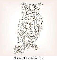 矢量, 猫头鹰, 古代, 草案, 机械