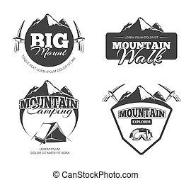 矢量, 理念, 徽章, 遠足, 標籤, 登山, 集合, retro, 攀登, 拉車, 象征