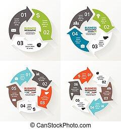 矢量, 環繞, 箭, infographics, set., 樣板, 為, 週期, 圖形, 圖表, 表達, 以及, 輪,...