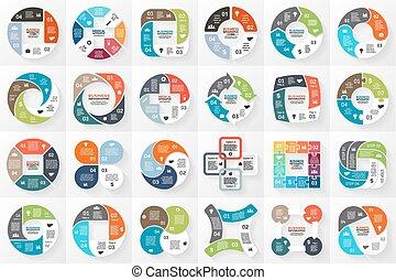 矢量, 環繞, infographics., 樣板, 為, 週期, 圖形, 圖表, 表達, 以及, 輪, chart.,...