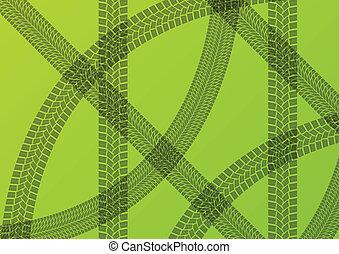 矢量, 生態學, 輪胎, 足跡, 插圖, 拖拉机, 收割機, 綠色的背景, 可持續, 農業
