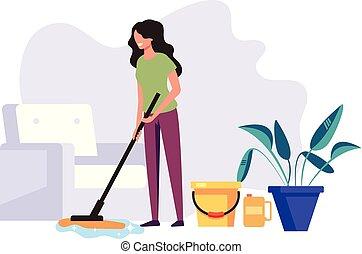 矢量, 生活, 妇女, 服务, 地板, room., 房子, 公司, 工人, 描述, 洗涤, 图表, 套间, 家庭主妇, 清洁, 女管家, 设计, concept., 卡通漫画, 打扫