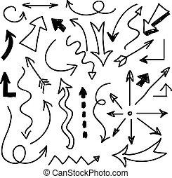 矢量, 畫, 集合, 箭, 手