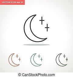 矢量, 白色, 图标, 隔离, 月亮, 线, 背景