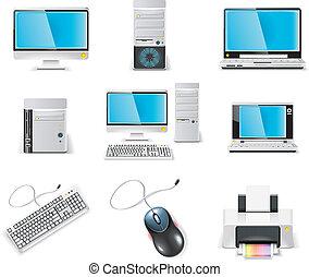矢量, 白色, 電腦, icon.