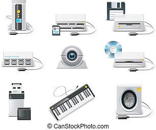 矢量, 白色, 電腦, icon., p.3, usb