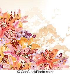 矢量, 百合花, 花, 背景