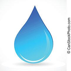 矢量, ......的, 藍色的水, 下降, 標識語