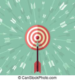 矢量, 目標, 成就, 概念, 在, 套間, 風格