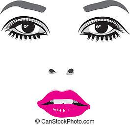 矢量, 眼睛, 脸, 妇女, 描述