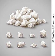 矢量, 石頭, 集合, 堆, 岩石