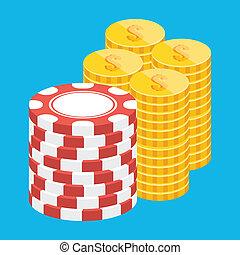 矢量, 硬币, 同时,, 娱乐场芯片, 堆