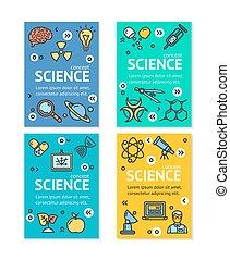 矢量, 科學, 研究, 飛行物, 旗幟, 海報, 卡片, 集合, template.