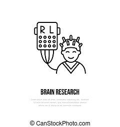 矢量, 稀薄的線, 圖象, 腦子, research., 醫院, 門診部, 線性, logo., outline, encefalogram, 符號, 醫學, equipment., 腦子, examination., 設計元素, 醫學, logotype