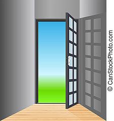 矢量, 空的房間, 由于, 打開, 門