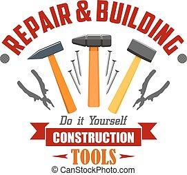 矢量, 签署, 建设, 工具, 建筑物, 修理