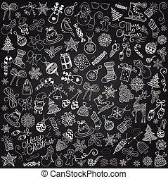 矢量, 粉筆畫, 藝術, 聖誕節, doodles, clip-art.