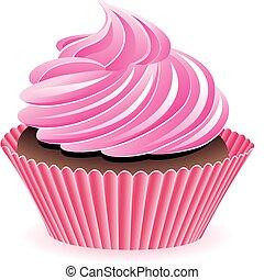 矢量, 粉紅色, cupcake