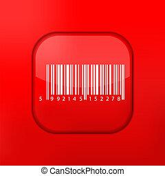 矢量, 紅色的條狀物, 代碼, icon., eps10., 容易, 到, 編輯