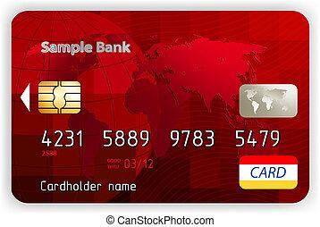 矢量, 紅色, 信用卡, 前面, 觀點。, eps, 8