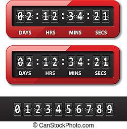 矢量, 紅色, 机械, 計數器, -, 倒計時, 定時器