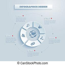 矢量, 紙, infographics, 圖象