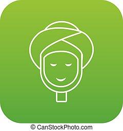 矢量, 綠色, 治療, 面部, 礦泉, 圖象