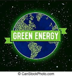 矢量, 綠色, 能量, 插圖
