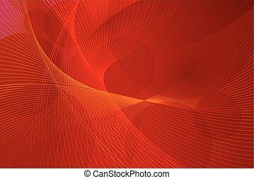 矢量, 線, 紅的背景, 波浪