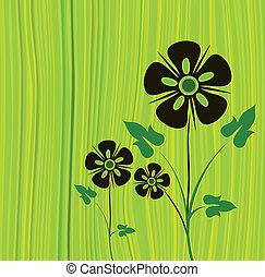 矢量, 绿色, 花, 背景