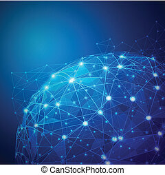 矢量, 网络, 数字, 啮合, 全球, 描述