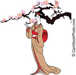 矢量, 背景, 由于, a, 日本, 女孩