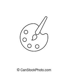矢量, 背景。, 白色, paintbrush, 图标, 调色板, 隔离