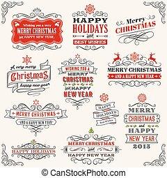 矢量, 葡萄酒, 標籤, 聖誕節