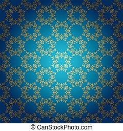 矢量, 蓝色, 金色的背景, 装饰物