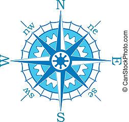 矢量, 藍色, 指南針