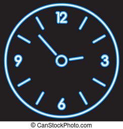 矢量, 藍色, 氖, 鐘