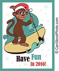 矢量, 衝浪, 猴子, paddleboard., 卡片, 問候, paddleboarding, 假期,...