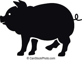 矢量, 豬, silhouette., 黑色, 顏色