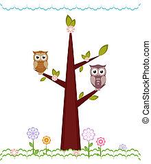 矢量, 貓頭鷹, 坐, branches., 插圖