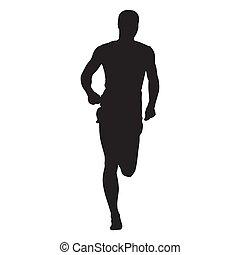 矢量, 賽跑的人, 正面圖, 被隔离, 黑色半面畫像