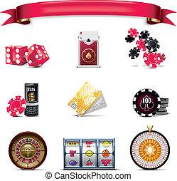 矢量, 赌博, 图标, set., p., (w)