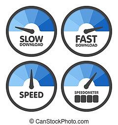 矢量, 輪, download., 速度計, 快, 慢, 集合, 插圖, 速度