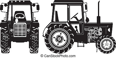 矢量, 農業, 拖拉机, 黑色半面畫像