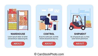 矢量, 過程, 控制, 工作, 接口, 裝貨, 交付, 儲存, 分配, 集合, 旗幟, 插圖, 屏幕, 倉庫, 設計