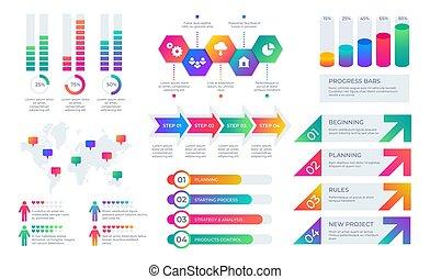 矢量, 酒吧, 放置, 金融, elements., 商业, 图表, 图表, 布局, infographic, timeline, 报告, 表达, 公司, diagrams.